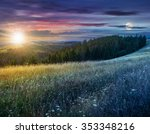 day and night composite image of large meadow with mountain herbs and a conifer forest in front of mountainous massif away in the background - stock photo