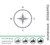 compass icon in the flat style. ... | Shutterstock .eps vector #353365952