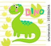 green dinosaur on striped... | Shutterstock .eps vector #353386046