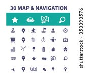 map  location  route  icons ... | Shutterstock .eps vector #353393576