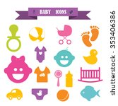 multicolored icons with tape on ... | Shutterstock .eps vector #353406386