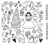 wedding color hand drawn sketch ... | Shutterstock .eps vector #353409332