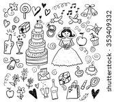 wedding color hand drawn sketch ... | Shutterstock .eps vector #353409332
