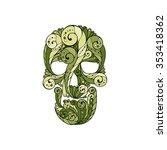 tribal tattoo skull. ornate... | Shutterstock .eps vector #353418362
