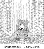 bamboo panda coloring page.... | Shutterstock .eps vector #353423546