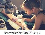 portrait of a woman tattoo... | Shutterstock . vector #353425112