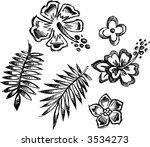 tropical sketch elements vector