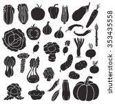 icons of vegetables. vector ... | Shutterstock .eps vector #353435558