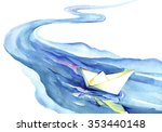 White Paper Boat Floating In...