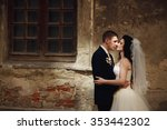 grom huging kissing bride with... | Shutterstock . vector #353442302