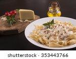 fettuccine with milk cream sauce | Shutterstock . vector #353443766