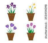spring flowers in pots isolated ... | Shutterstock .eps vector #353454098