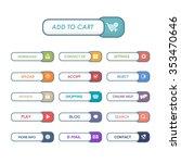 flat website buttons set design