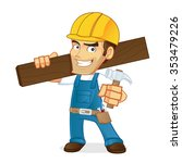 handyman carrying a wooden...