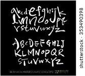 hand drawn alphabet   number... | Shutterstock .eps vector #353490398
