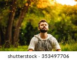 a bearded man is meditating on... | Shutterstock . vector #353497706