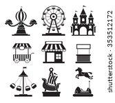 Amusement Park Objects Icons...