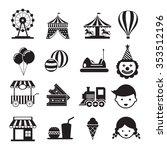 amusement park mono icons set ...