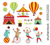 Circus Objects Flat Icons Set ...