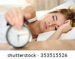 sleepy young woman portrait... | Shutterstock . vector #353515526