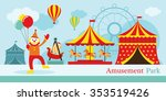 amusement park  circus  clown ... | Shutterstock .eps vector #353519426