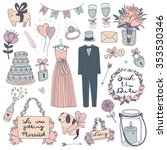 hand drawn vector wedding set | Shutterstock .eps vector #353530346