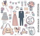 hand drawn vector wedding set | Shutterstock .eps vector #353530346