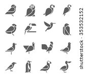 set of vector bird icons on... | Shutterstock .eps vector #353532152