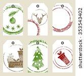 christmas gift tags set. art... | Shutterstock .eps vector #353543402
