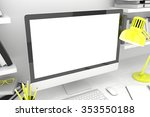 3d illustration pc screen on... | Shutterstock . vector #353550188
