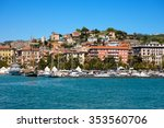 Small photo of Cityscape of La Spezia - Liguria Italy / View of the city and the harbor of La Spezia - Liguria, Italy, Europe