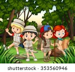 group of children hiking in the ...