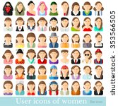 set of flat women icons in... | Shutterstock .eps vector #353566505