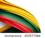 lithuania  flag of silk with... | Shutterstock . vector #353577386