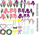 irises. set of purple and pink...   Shutterstock .eps vector #353578346