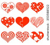 set of hearts with a pattern.... | Shutterstock . vector #353588522