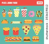pixel fast food set  isolated... | Shutterstock .eps vector #353619812
