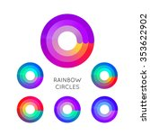 set of bright colorful circle... | Shutterstock .eps vector #353622902