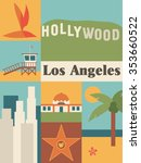 los angeles icon set | Shutterstock .eps vector #353660522