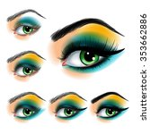 eye shadow make up step by step | Shutterstock .eps vector #353662886