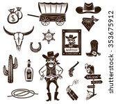 cowboy black white icons set... | Shutterstock .eps vector #353675912