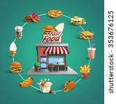 fast food restaurant concept... | Shutterstock .eps vector #353676125