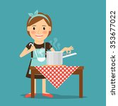 mother cooking. woman cooking... | Shutterstock .eps vector #353677022