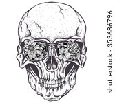 skull of human with  flowers on ... | Shutterstock .eps vector #353686796