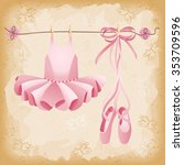 pink ballet slippers and tutu... | Shutterstock .eps vector #353709596