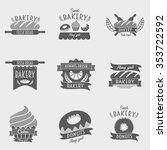set of bakery logos  labels ... | Shutterstock .eps vector #353722592