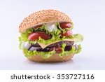 big burger with beef cutlet and ... | Shutterstock . vector #353727116