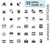 black hotel icons | Shutterstock .eps vector #353742338