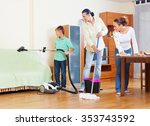 ordinary family of three doing... | Shutterstock . vector #353743592