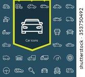 car outline  thin  flat ... | Shutterstock .eps vector #353750492